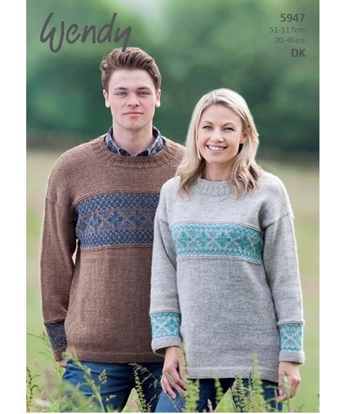 5947 fairisle sweater pattern front