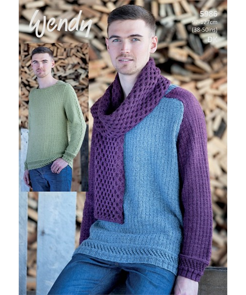 5986 sweater & scarf pattern front