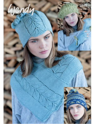 5989 neck warmer, hat and gloves pattern front