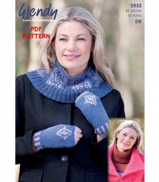 5932 fairisle neck warmer pattern front