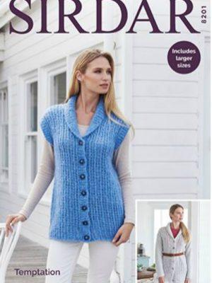 Sirdar 8201 Ladies Jacket and Waistcoat