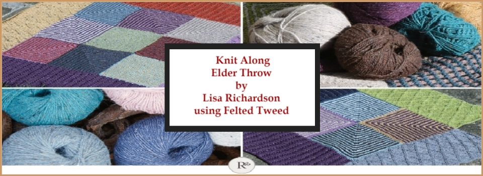 Knit Along Elder Throw Lisa Richardson using Felted Tweed